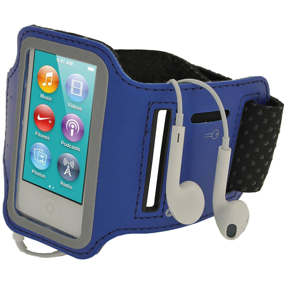 iGadgitz Blue Reflective Anti-Slip Neoprene Sports Gym Jogging Armband for Apple iPod Nano 7th Generation 16GB