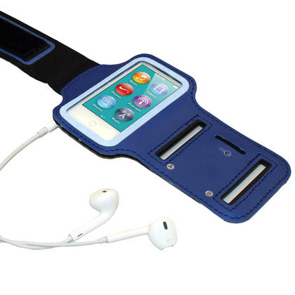 iGadgitz Blue Reflective Anti-Slip Neoprene Sports Gym Jogging Armband for Apple iPod Nano 7th Generation 16GB Thumbnail 4