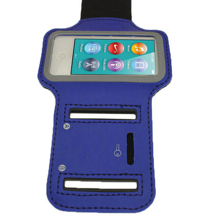 iGadgitz Blue Reflective Anti-Slip Neoprene Sports Gym Jogging Armband for Apple iPod Nano 7th Generation 16GB Thumbnail 3