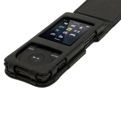 iGadgitz Black Genuine Leather Case for Sony Walkman NWZ-E473 NWZ-E474 NWZ-E574 NWZ-E575 E Series MP3 Player Thumbnail 3