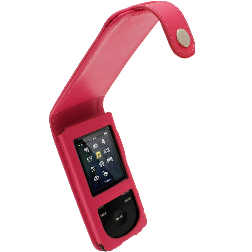iGadgitz Pink Leather Case for Sony Walkman NWZ-E473 NWZ-E474 NWZ-E574 NWZ-E575 E Series MP3 Player