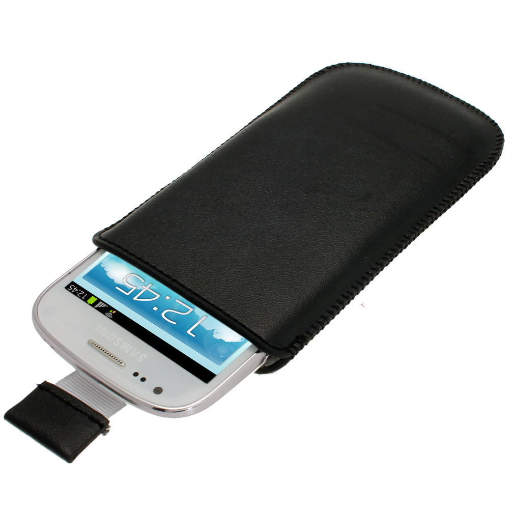 Black Leather Pouch for Samsung Galaxy S3 III Mini I8190 ...