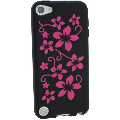 iGadgitz Black & Pink Flowers Silicone Skin Case Cover for Apple iPod Touch 6th & 5th Generation + Screen Protector Thumbnail 3