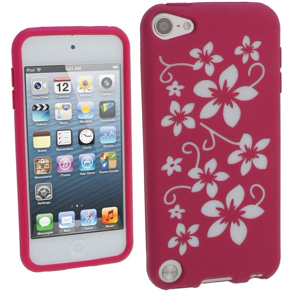 iGadgitz Pink & White Flowers Silicone Skin Case Cover for ... Ipod 5 Pink Cases