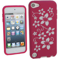 iGadgitz Pink & White Flowers Silicone Skin Case Cover for Apple iPod Touch 6th & 5th Generation + Screen Protector