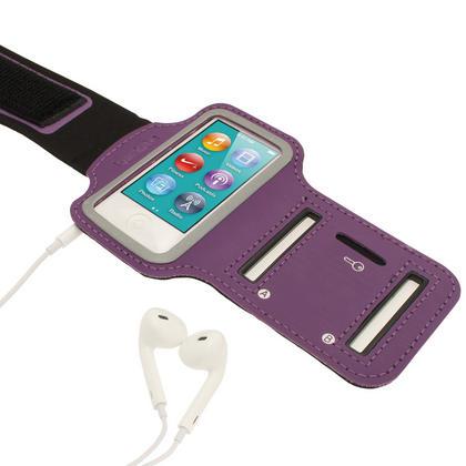 iGadgitz Purple Reflective Anti-Slip Neoprene Sports Gym Jogging Armband for Apple iPod Nano 7th Generation 16GB Thumbnail 4