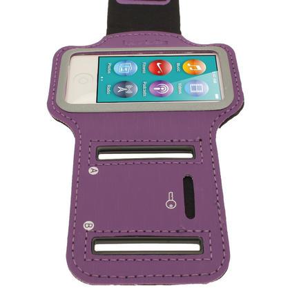 iGadgitz Purple Reflective Anti-Slip Neoprene Sports Gym Jogging Armband for Apple iPod Nano 7th Generation 16GB Thumbnail 3