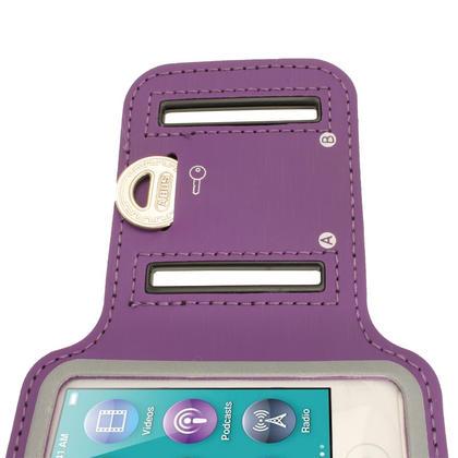 iGadgitz Purple Reflective Anti-Slip Neoprene Sports Gym Jogging Armband for Apple iPod Nano 7th Generation 16GB Thumbnail 6