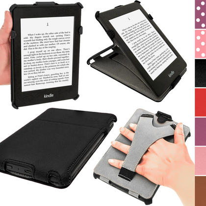 iGadgitz Black PU 'Heat Molded' Leather Case for Amazon Kindle Paperwhite 2015 2014 2013 2012 + Sleep/Wake & Hand Strap Thumbnail 1