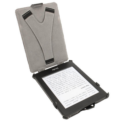 iGadgitz Black PU 'Heat Molded' Leather Case for Amazon Kindle Paperwhite 2015 2014 2013 2012 + Sleep/Wake & Hand Strap Thumbnail 3
