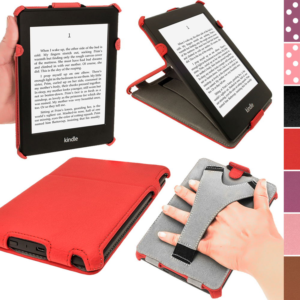 iGadgitz Red PU 'Heat Molded' Leather Case for Amazon Kindle Paperwhite 2015 2014 2013 2012 + Sleep/Wake & Hand Strap