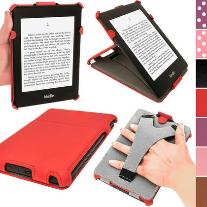 iGadgitz Red PU 'Heat Molded' Leather Case for Amazon Kindle Paperwhite 2015 2014 2013 2012 + Sleep/Wake & Hand Strap Thumbnail 1
