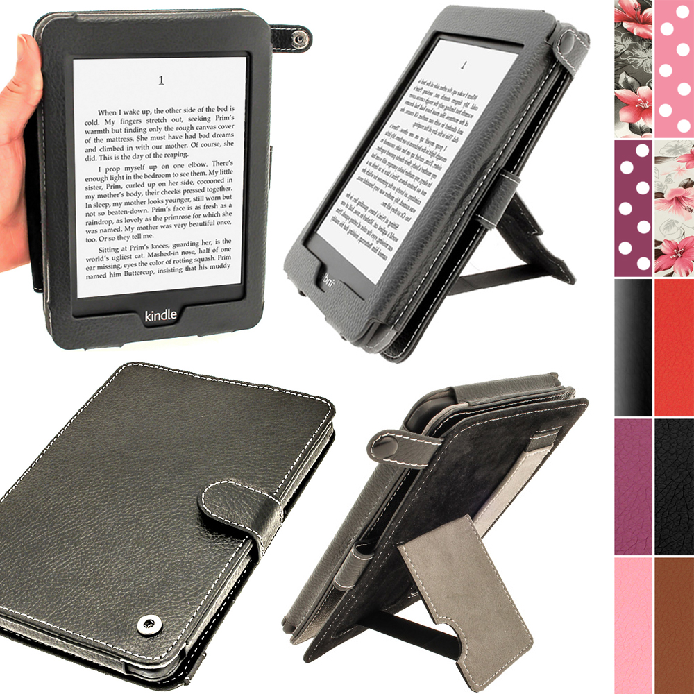 iGadgitz Black PU 'Bi-View' Leather Case for Amazon Kindle Paperwhite 2015 2014 2013 2012 With Sleep/Wake & Hand Strap