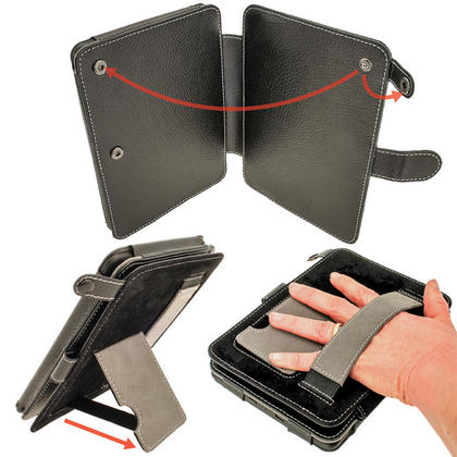 iGadgitz Black PU 'Bi-View' Leather Case for Amazon Kindle Paperwhite 2015 2014 2013 2012 With Sleep/Wake & Hand Strap Thumbnail 4