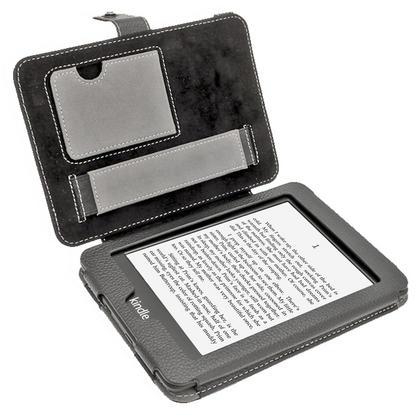 iGadgitz Black PU 'Bi-View' Leather Case for Amazon Kindle Paperwhite 2015 2014 2013 2012 With Sleep/Wake & Hand Strap Thumbnail 2