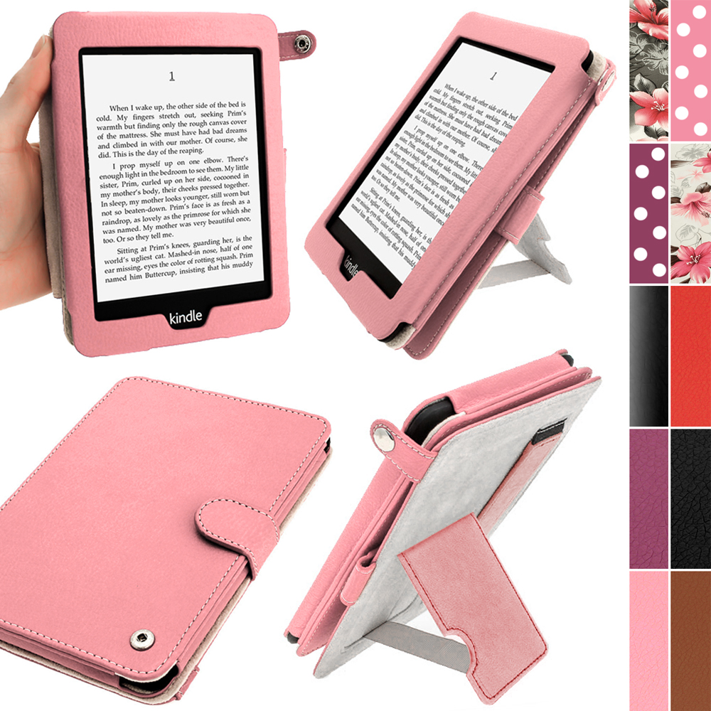 iGadgitz Pink PU 'Bi-View' Leather Case for Amazon Kindle Paperwhite 2015 2014 2013 2012 With Sleep/Wake & Hand Strap