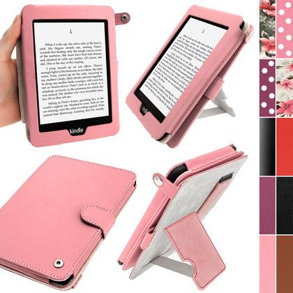iGadgitz Pink PU 'Bi-View' Leather Case for Amazon Kindle Paperwhite 2015 2014 2013 2012 With Sleep/Wake & Hand Strap Thumbnail 1