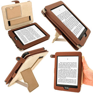 "iGadgitz Brown PU 'Bi-View' Leather Case Cover for Amazon Kindle PaperWhite 3G 6"" Display Wi-Fi 2GB. With Sleep/Wake Function & Integrated Hand Strap Preview"
