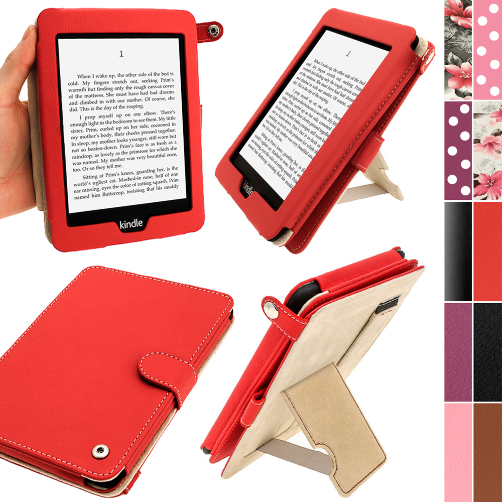 iGadgitz Red PU 'Bi-View' Leather Case for Amazon Kindle Paperwhite 2015 2014 2013 2012 With Sleep/Wake & Hand Strap