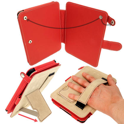 iGadgitz Red PU 'Bi-View' Leather Case for Amazon Kindle Paperwhite 2015 2014 2013 2012 With Sleep/Wake & Hand Strap Thumbnail 4