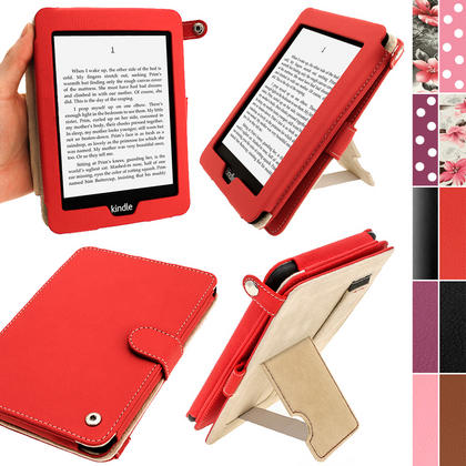 iGadgitz Red PU 'Bi-View' Leather Case for Amazon Kindle Paperwhite 2015 2014 2013 2012 With Sleep/Wake & Hand Strap Thumbnail 1