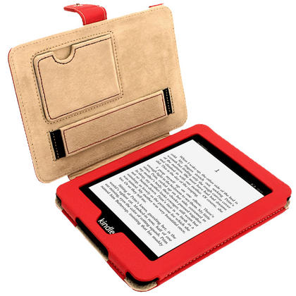 iGadgitz Red PU 'Bi-View' Leather Case for Amazon Kindle Paperwhite 2015 2014 2013 2012 With Sleep/Wake & Hand Strap Thumbnail 3