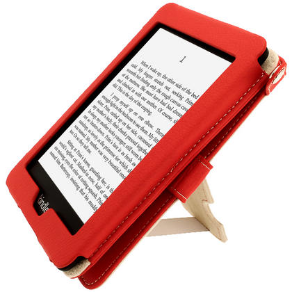iGadgitz Red PU 'Bi-View' Leather Case for Amazon Kindle Paperwhite 2015 2014 2013 2012 With Sleep/Wake & Hand Strap Thumbnail 5