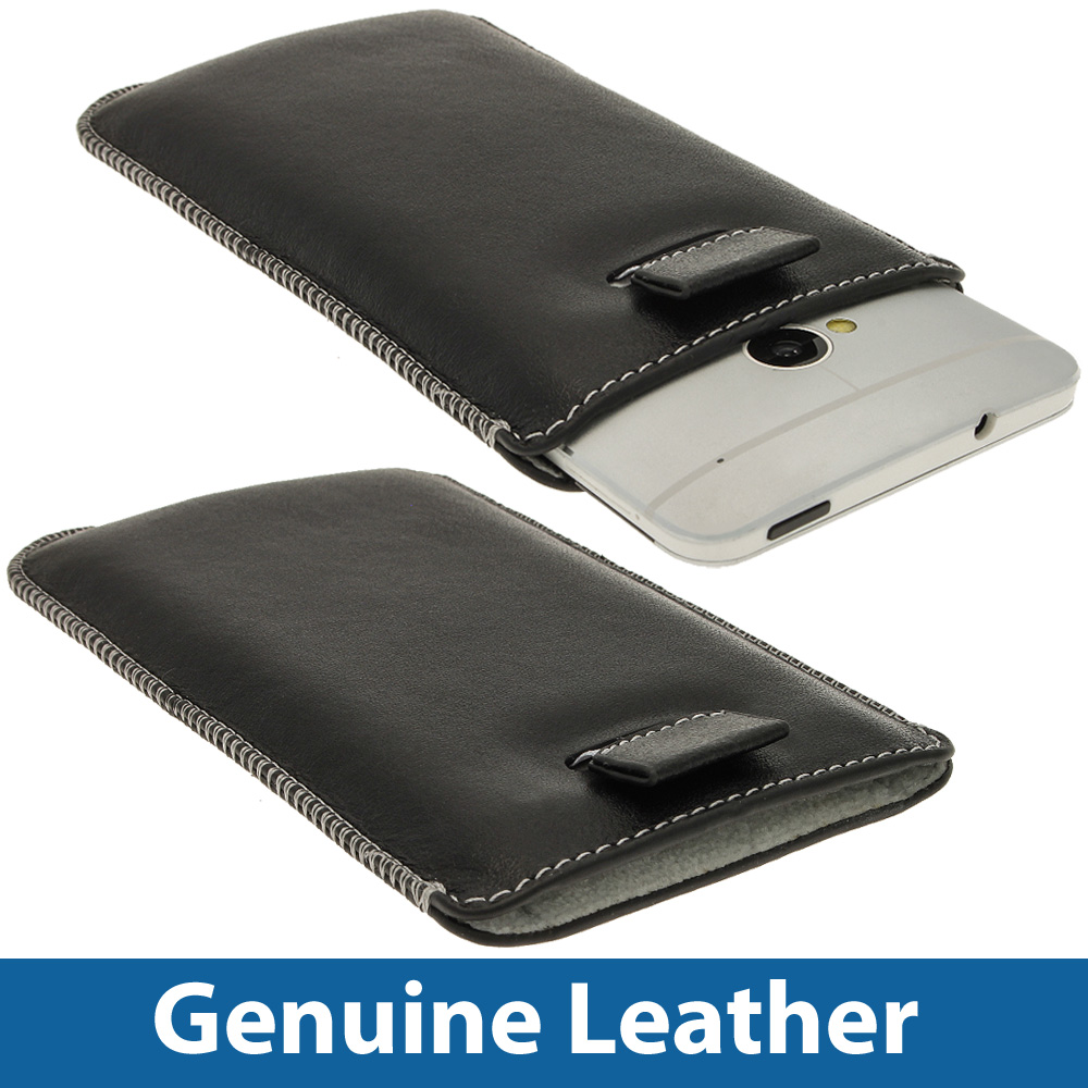 black genuine leather pouch for htc one m7 android phone. Black Bedroom Furniture Sets. Home Design Ideas