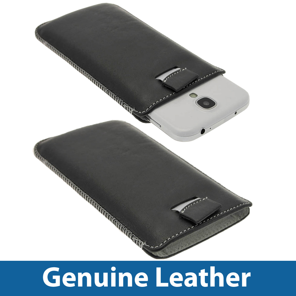 black genuine leather pouch for samsung galaxy s4 iv i9500. Black Bedroom Furniture Sets. Home Design Ideas