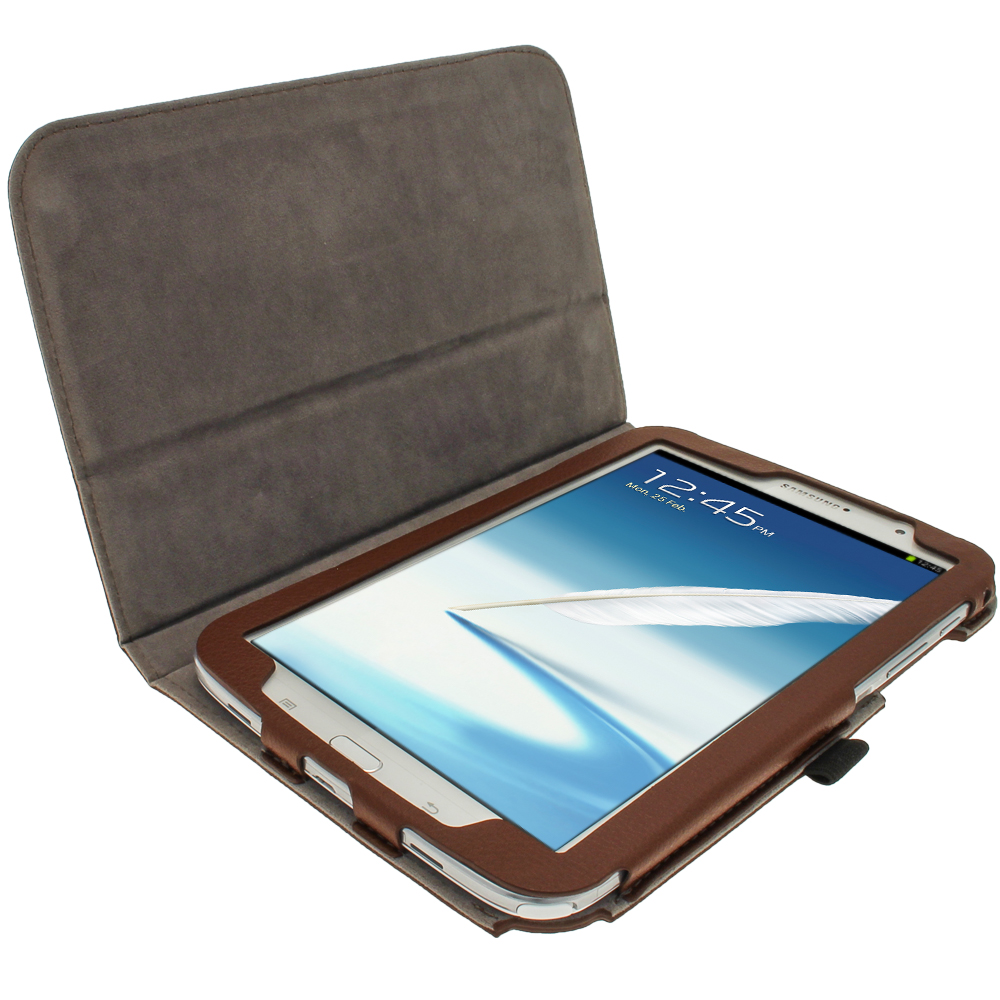 Tui housse marron cuir pu pour samsung galaxy note 8 0 for Housse galaxy note 8