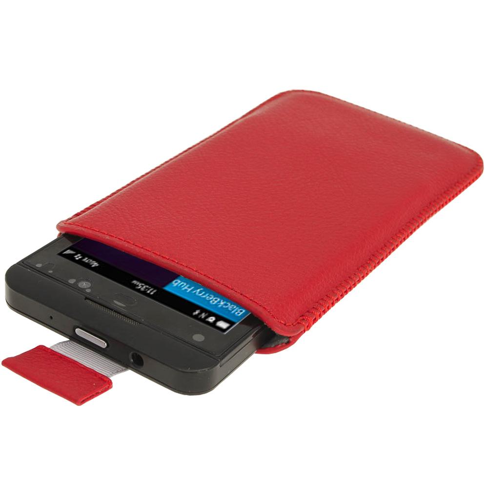Rouge tui housse pochette en cuir avec tirette pour for Housse pour blackberry curve