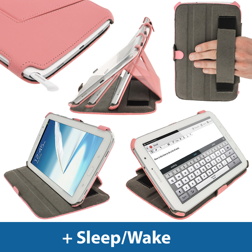 pink pu leather case for samsung galaxy note 8 0 3g wi fi. Black Bedroom Furniture Sets. Home Design Ideas