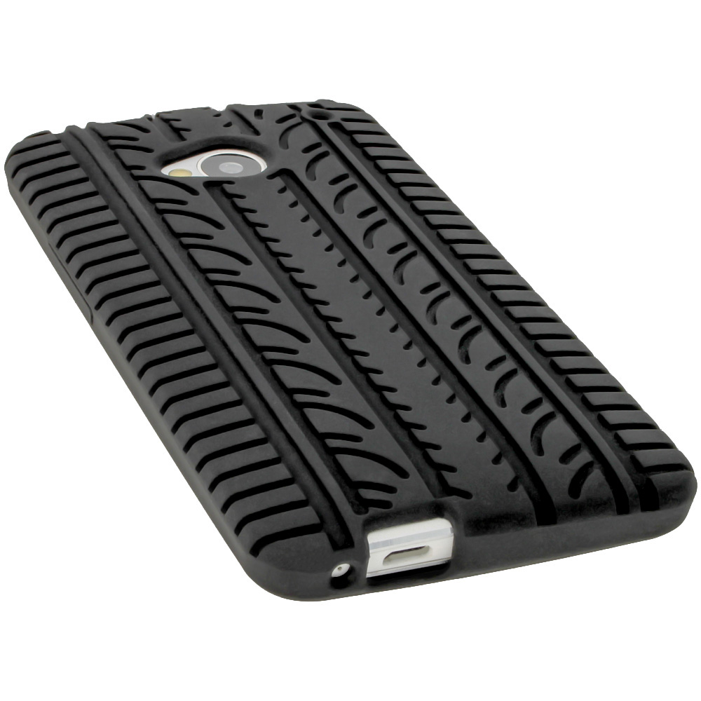 Black Silicone Tyre Skin for HTC One M7 Android Case Cover ...
