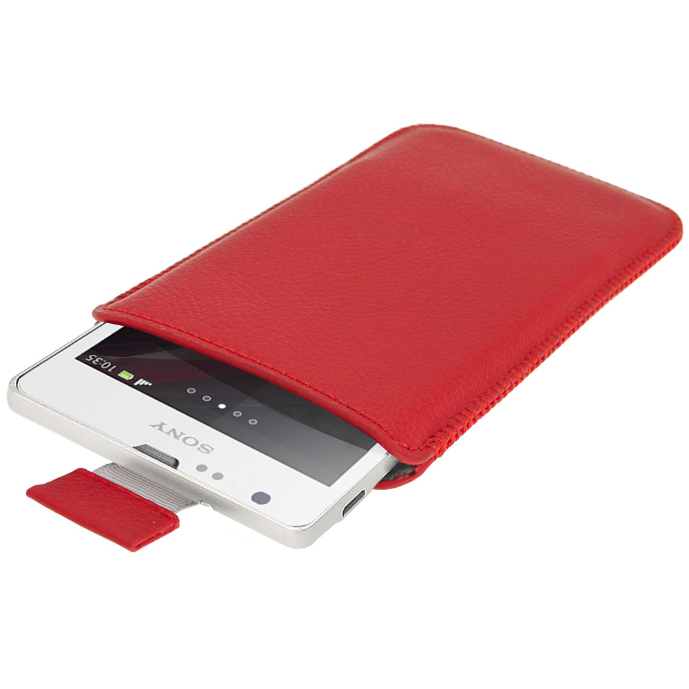 Red Leather Pouch for Sony Xperia SP Android Smartphone ...