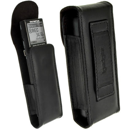 iGadgitz Black Genuine Leather Case Cover for Olympus VN-713PC Voice Recorder Digital Dictaphone Thumbnail 1