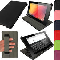 View Item iGadgitz Black PU Leather Case Cover for New Google Nexus 7 FHD Android Tablet 16GB 32GB 4G LTE 2013 Model 2nd Gen Generation (released Aug 2013). With Sleep/Wake Function, Integrated Hand Strap + Screen Protector
