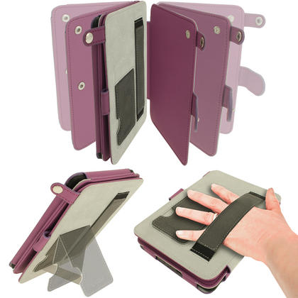 iGadgitz Purple PU 'Bi-View' Leather Case for Amazon Kindle Paperwhite 2015 2014 2013 2012 With Sleep/Wake & Hand Strap Thumbnail 4