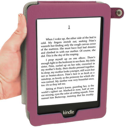 iGadgitz Purple PU 'Bi-View' Leather Case for Amazon Kindle Paperwhite 2015 2014 2013 2012 With Sleep/Wake & Hand Strap Thumbnail 6