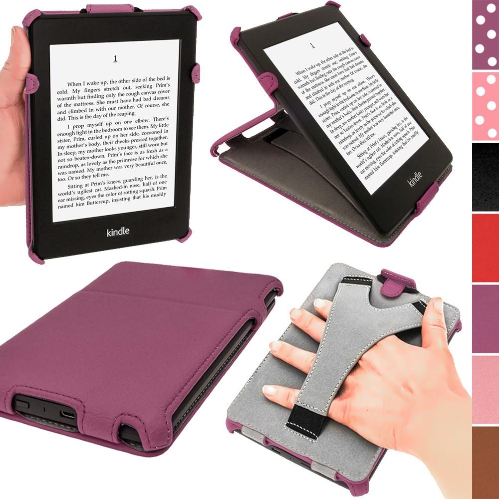 iGadgitz Purple PU 'Heat Molded' Leather Case Cover forAmazon Kindle Paperwhite 2015 2014 2013 2012 + Sleep Wake