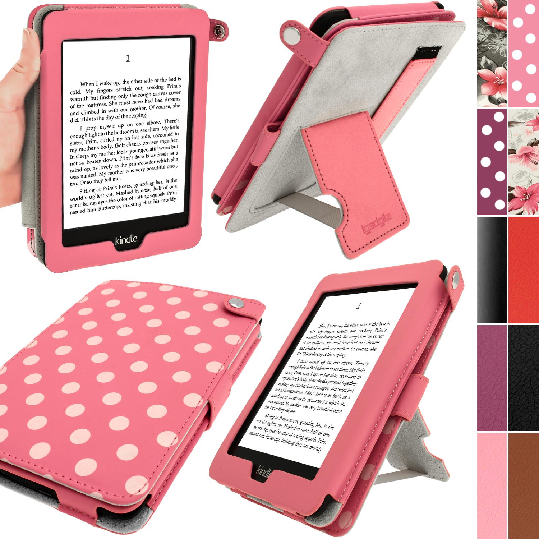 iGadgitz Polka Dot PU Leather Case for Amazon Kindle Paperwhite 2015 2014 2013 2012 with Sleep/Wake & Hand Strap