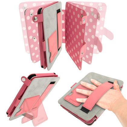 iGadgitz Polka Dot PU Leather Case for Amazon Kindle Paperwhite 2015 2014 2013 2012 with Sleep/Wake & Hand Strap Thumbnail 3