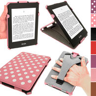 iGadgitz Polka Dot PU Leather Case forAmazon Kindle Paperwhite 2015 2014 2013 2012 with Sleep/Wake & Hand Strap