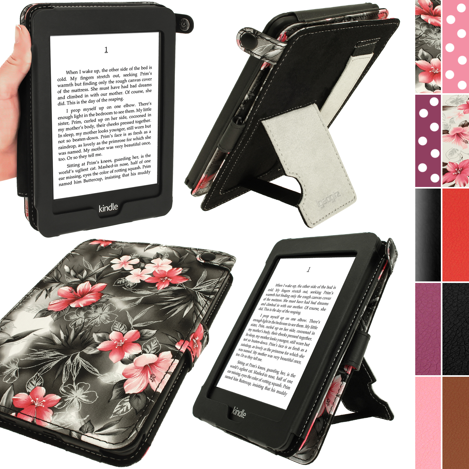 iGadgitz Floral Bi-View Textured PU Leather Case for Amazon Kindle Paperwhite 2015 2014 2013 2012 Sleep/Wake Hand Strap