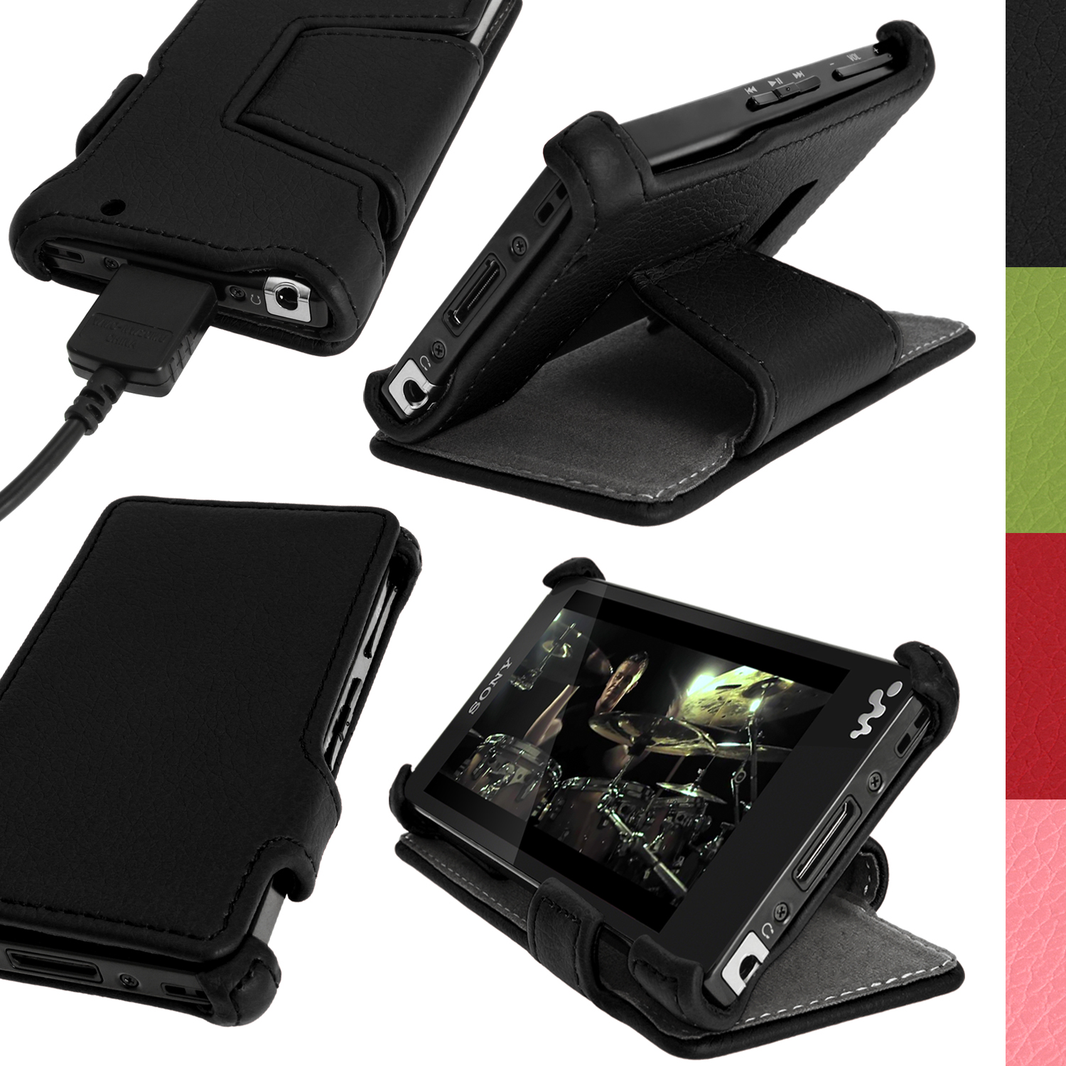 iGadgitz PU Leather Flip Case for Sony Walkman NWZ-F886-F887 with Viewing Stand + Screen Protector (various colours)