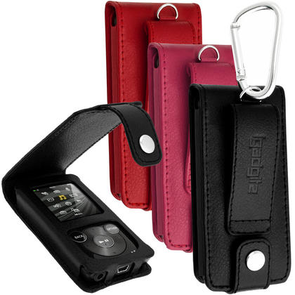 iGadgitz Leather Case for Sony Walkman NWZ-E384 with Detachable Carabiner + Screen Protector (various colours) Thumbnail 1