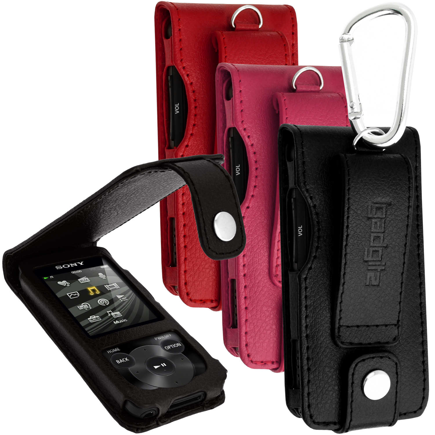 iGadgitz Leather Case for Sony Walkman NWZ-E585 with Detachable Carabiner + Screen Protector (various colours)