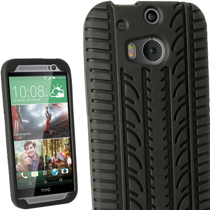 iGadgitz Black Tyre Skin Silicone Case Cover for HTC One M8 2014 + Screen Protector