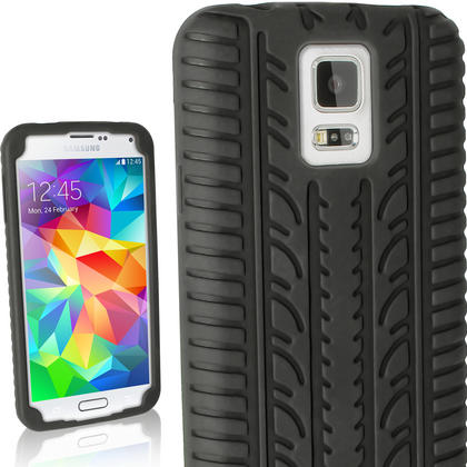 iGadgitz Black Tyre Skin Silicone Case Cover for Samsung Galaxy S5 SV SM-G900 SM-G900F SM-G900H + Screen Protector