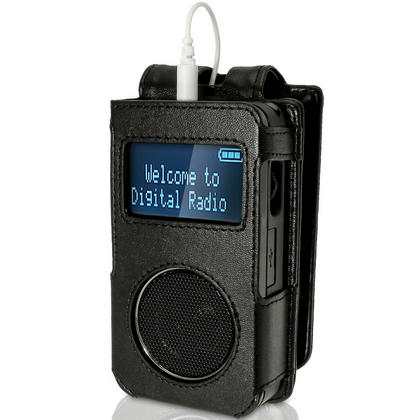 iGadgitz Black Genuine Leather Case Cover for Roberts Sports Dab 3 Radio With Removable Belt Clip Thumbnail 1
