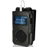 iGadgitz Black Genuine Leather Case Cover for Roberts Sports Dab 3 Radio With Removable Belt Clip